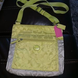 Coach neon yellow and grey crossbody